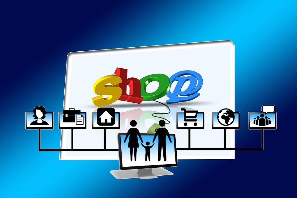 Grafisk illustration av e-handel (mamma, pappa och bar. En shopingskylt syns i bakgrunden.